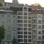 The hotel seen from a boat down the Danube