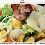 caesar salad, croutons, pancetta,medium boiled egg, reggiano