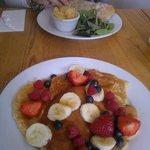 American Pancakes and Goats Cheese ciabatta