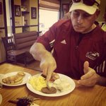 Coach T enjoying breakfast!