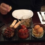 Sirloin teriyaki, chicken on a stick, ham croquettes, and devoured partridge pate