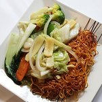 Crispy noodles with Mixed Vegetables, Express Lunch 2 courses £12.80, every day 12pm-2.30pm