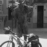 Pilgrim guarding bike