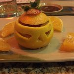 Orange with plum wine dessert