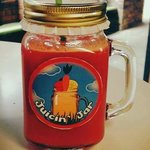 Juicin' Jar souvenir mason jar with logo sticker