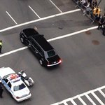 View from Balcony. President Obama's Motorcade.