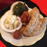 Fried Whiting, Potato Salad, Collard Greens, and Hush Puppies