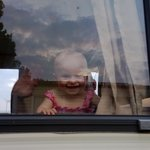 my 9 month old enjoying her first peep out of the caravan window