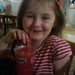 my 7 year old enjoying a slushie from the tavern