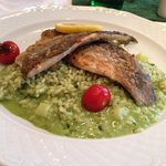 Fried fillets of Trout on an asparagus risotto, €13, very good