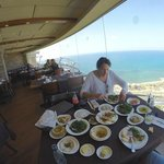 salad selection with Haifa in the background