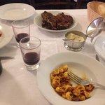 Florentine Steak, local red wine and Tortellini in meat sauce
