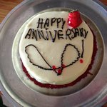 Anniversary cake delivered to our room on our wedding anniversary