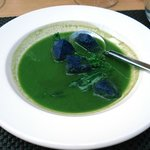 Watercress veloute, heritage potatoes