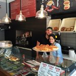 Owner and friend- great bagels here