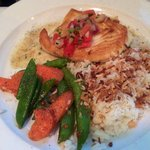 Halibut with Jasmine Coconut Rice and vegetables