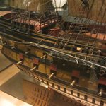 Detail of 1/28th scale model of 64-gun ship Le Protecteur