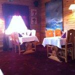 quaint dining room, candles, wine list