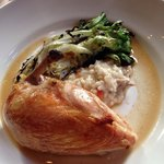Roasted chicken with risotto and escarole - FLAVORFUL!