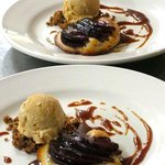 Red wine poached apple tarts with caramel ice cream