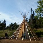 Building a TeePee at Battery Provincial Park
