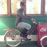 Stationary cycling on the Coca Cola