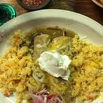Enchiladas Suiza with rice