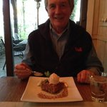Apple Cake w burnt brown sugar bourbon gelato and caramel sauce - Awesome!
