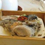 Garlic Steamed Salmon Fish Head