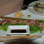 Pan seared tuna with sesame seeds, soy sauce, wasabi and ginger