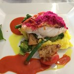 Fish with beetroot crust