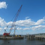 Constructing the new fishing pier at Colt State Park