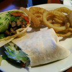 Grill Steak wrap with onion rings