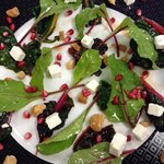 Spring kale salad with feta and pomegranate