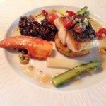 Sea bass with lobster crab cake, black quinoa & aspagarus