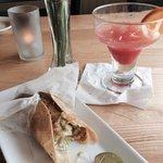 Amazing fish tacos and blood orange margaritas!