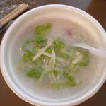 Not so thrilling congee for breakfast. Skip it if you can.