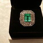 Custom made emerald and white sapphire ladies ring