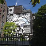 Mural on wall in the back garden of andaz