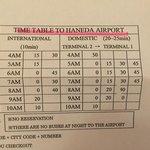 shuttle bus schedule to haneda airport