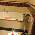 Bath prepared by butler complete with champagne