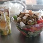 salad cocktail and greek salad for delivery