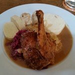 Crispy Duck with cabbage and dumplings