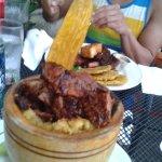 mofongo relleno de churrasco/smashed plantain stuffed with skirt steak