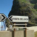 Round the corner signpost to Ponta Delgada, Madeira