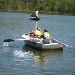 Enjoying  an outing on a rental rowboat at Piney Run Park.