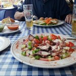 Pulpo salad with tomato & red pepper salad