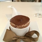 Chocolate soufflé with vanilla ball inside doused with Grand Marnier