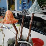Garden mushrooms made from clay