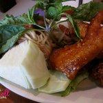 Triple combo, wings and papaya salad